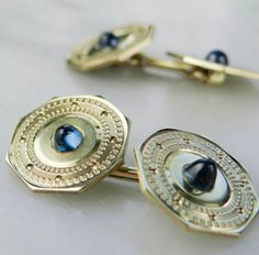 Handsome Green Gold and Blue Sapphire Cufflinks from by MSJewelers