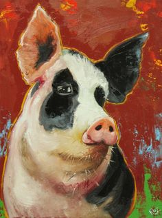 Pig painting 69 18x24 inch original oil painting by Roz by RozArt, $250.00