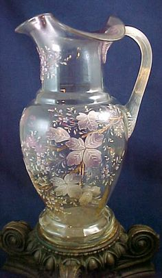 Antique Victorian Bohemian Hand Painted Enamel Art Glass Lemonade Pitcher Moser