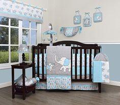GEENNY Boutique Baby 13 Piece Nursery Crib Bedding Set, Blizzard Blue Grey Elephant on Amazon (affiliate link)