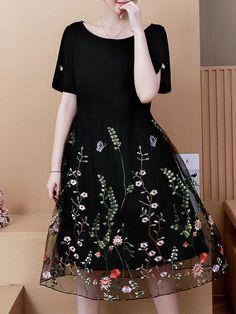 dd6179c0612172 Round Neck Patchwork Embroidery Skater Dress  SkaterDress Mature Women  Fashion