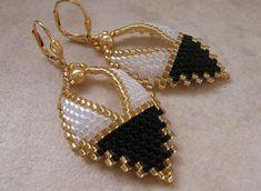 Gemacht - russische Blatt Ohrringe - schwarz/weiss bestellen
