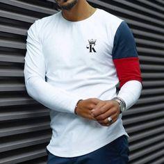 Long Sleeve Shirts, Poker Crown Colorblock Long Sleeve T-Shirt Style Casual, Men Casual, Ripped Denim, Printed Tank Tops, Casual T Shirts, Long Sleeve Shirts, Sleeves, Mens Tops, Street Beat