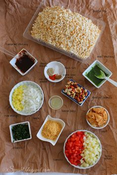 Recipe for Bhel Puri an Indian Chaat snack that is so easy to make and so irresistibly yum! And if you serve bhel puri in paper cones just like the roadside street food sellers in India do, it makes for an interesting presentation! Jain Recipes, Veg Recipes, Indian Food Recipes, Vegetarian Recipes, Cooking Recipes, Healthy Recipes, Spicy Recipes, Sandwich Recipes, Pasta Recipes
