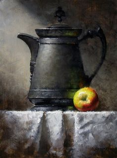Apple and Pitcher by David Cheifetz Oil ~ 12 x 9