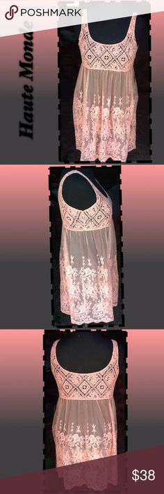 Haute Monde Tunic Haute Monde Embroidered Mesh Tunic Top free people spirit , semi sheer , pullover style tunic , has scoop neck, crocheted yoke an embroidered mesh detail. Perfect for the Boho look, it's a deco pink , an sleeveless, bust: armpit to armpit; 18' front length 33' , NWT Haute Monde Tops Tunics