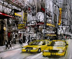 Paul Kenton New York Painting, City Painting, Paul Kenton, Landscape Paintings, Landscapes, New York Cityscape, Trip The Light Fantastic, Abstract City, Building Art