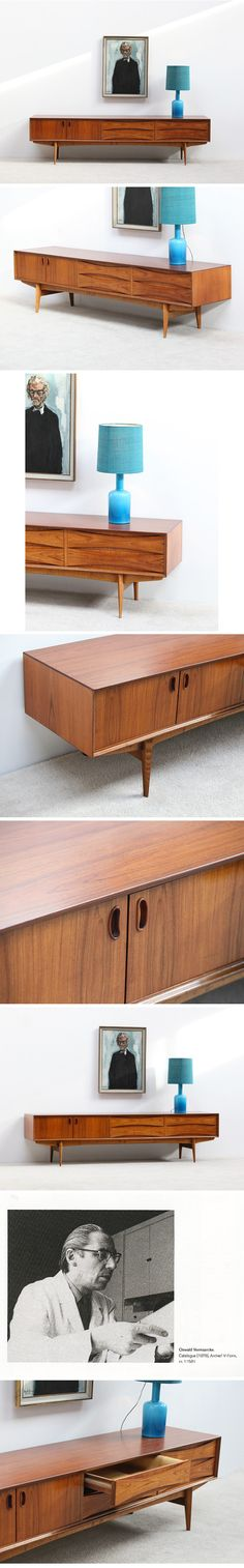 Here a ultra low credenza 'Paola' designed by Oswald Vermaercke for V-form. This Belgium production is created first in 1959 and was named to our Belgium queen who married at the time with Albert our King. Remarks of Danish influence is remarkable in the Paola line. The design is minimalist and simple in line. The structure is Functional and decorative. This Ultra low credenza has all the looks it need.