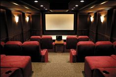 Movie theater style home theater. Now this is a theater room! Home Theater Lighting, Home Theater Decor, Home Theater Seating, Home Theater Design, Movie Theater Rooms, Cinema Room, Movie Rooms, Theatre Rooms, Tv Rooms