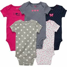 Carter's® 5-pk. Pink and Navy Bodysuits - Girls newborn-24m - jcpenney