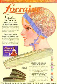Lorraine hair net ad, 1933. #vintage #1930s #hair #ads
