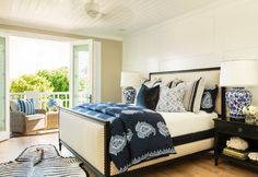 Gorgeous bed!! California Coastal Home Designed by Barclay Butera