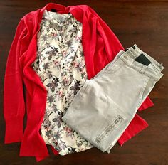 Open Front Cardigan in Burnt Orange - Ann Taylor. Floral Top - Ann Taylor. Zippered Skinny Pant in Putty.