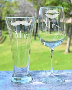 Wedding Gift - (PAIR) Toasting Glasses - Personalized Toasting Glasses (x2) - Custom Engraved Glasses - Pilsner Glass & Wine Glass on Etsy, $27.95