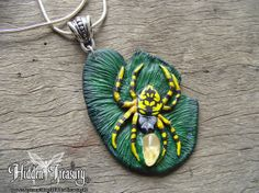 Spider Pendant OOAK handmade necklace lily pad by HiddenTreasury12, $30.00