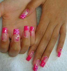 Pink French Tip. Pink Frangipani's. mwha