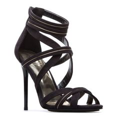 Black Strappy Cut Out Heels w/Metallic Piping  - $42.00 #FlipPinWin