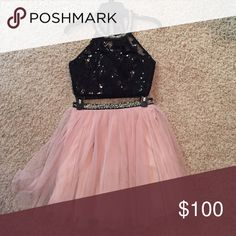 Homecoming dress 2 pc 2 pc black and rose color Dresses Prom