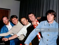 The Beach Boys pose together in Copenhagen, Denmark during their European tour in November 1966. Left to right: Mike Love, Bruce Johnston, Al Jardine, Carl Wilson and Dennis Wilson.