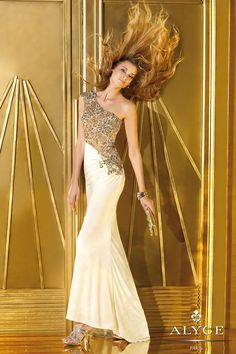 37717c0a3b Alyce 2014 Ivory Tan One Shoulder Beaded Long Fitted Gown 6190