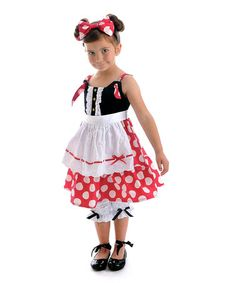 Take a look at this Red Dotsy Apron Dress - Toddler & Girls by Servane Barrau Designs on #zulily today!