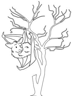 bat hang upside down in the tree coloring page Bat Coloring Pages, In The Tree, Fun, Animals, Animales, Animaux, Animal, Animais, Lol
