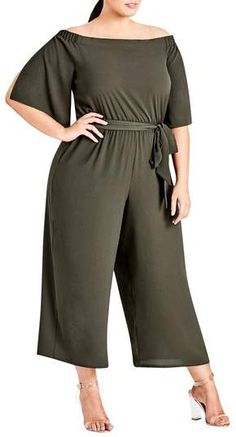 Shop a great selection of City Chic Womens Plus Off-The-Shoulder Chiffon Jumpsuit. Find new offer and Similar products for City Chic Womens Plus Off-The-Shoulder Chiffon Jumpsuit. Plus Size Stores, Plus Size Clothing Stores, Plus Size Fashion For Women, Plus Size Women, Plus Fashion, Women's Fashion, Fashion Outfits, Looks Plus Size, Trendy Plus Size