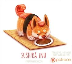 Daily Paint 1523. Sushiba Inu by Piper Thibodeau