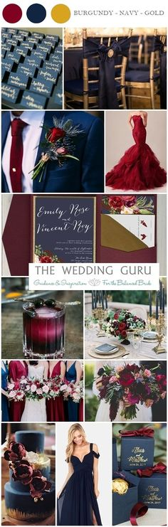Burgundy, Navy and Gold #Wedding #Inspiration - such a bold colour combination! Deep red flowers, navy suits, gold details, navy bridesmaid dresses, and bold wedding invitations. http://www.theweddingguru.ca/burgundy-navy-gold-wedding-inspiration/