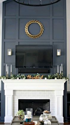 Tall Fireplace, Fireplace Update, Home Fireplace, Fireplace Remodel, Fireplace Inserts, Living Room With Fireplace, Fireplace Surrounds, Fireplace Design, Home Living Room