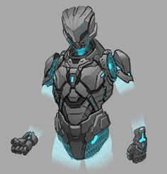 The character had to be a rugged, but athletic looking robot with separated limbs because of the nature of rigging a real time person character in VR. I started with a sketch based on visual guides like Ghost in the Shell, Black Ops and Halo. Fantasy Character Design, Character Design Inspiration, Character Concept, Character Art, Robot Concept Art, Armor Concept, Weapon Concept Art, Futuristic Armour, Futuristic Art