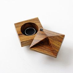 Pixie - faceted engagement ring box made with exotic Zebrawood