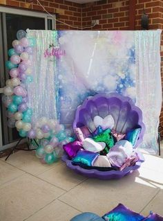 Mermaid party with a great photo background for a photo shoot- Mee . - Mermaid party with a great photo background for a photo shoot Mermaid party with a great photo back - Mermaid Theme Birthday, Mermaid Themed Party, Mermaid Birthday Decorations, Pool Decorations, Little Mermaid Decorations, Under The Sea Decorations, Princess Birthday, Mermaid Baby Showers, Baby Shower Mermaid Theme