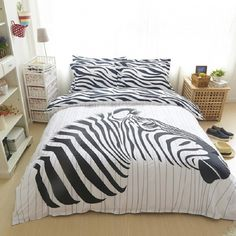 cotton zebra bedding sets Black and hundred queen twin duvet cover set bedlinen bedclothes beautiful bedding + Zebra Bedding, Linen Bedding, Bedding Sets, Queen Size Bed Sets, Queen Size Bedding, Pallet Designs, Bedclothes, Modern Bathroom Design, Bathroom Interior