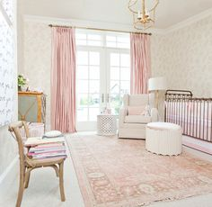 Stunning Classic Girl Nursery Inspiration | Pink Peonies | Design by Caitlin Creer Interiors and Oilo Studio | Photos by Britt Anderson | Rose Quartz Nursery Inspiration