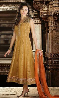 USD 142.97 Brown Faux Georgette Long Designer Salwar Suit 30557