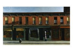 Early Sunday Morning  by Edward Hopper, american scenes, isolation of modern life in US, realist vision, refuses to have narrative, hints at meaning, muted and still scenes, time suspended, use of harsh, dramatic shadowing