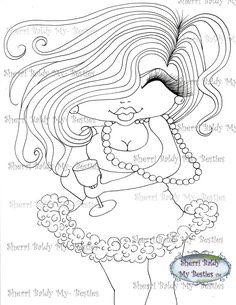 INSTANT DOWMLOAD Digital Digi Stamps Big Eye Big Head Dolls Digi Img054  New Fluffy Besties Tm  By Sherri Baldy