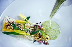 """Many Textures of Local Corn,"" butterscotch, corn shoots, buttermilk, sorghum seed popcorn, milk skin and anise hyssop"
