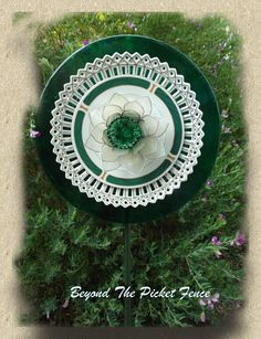 Repurposed Glass Garden Flower, Wall or Garden Art - Made of Vintage Glass Plates by Beyond the Picket Fence Aust