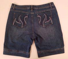 Womens Gloria Vanderbilt Dark Denim Blue Jean Shorts Size 14 #GloriaVanderbilt #CasualShorts