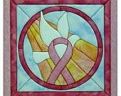 Stained glass pink ribbon quilt