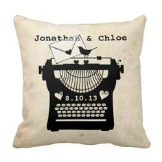 Love & Wedding Pillows | Pretty Throw Pillows  Vintage Typewriter Wedding Throw Pillow #wedding #married #weddinggifts #throwpillows