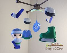 """Items similar to Baby Crib Mobile - Baby Mobile - Hockey Mobile - Boy Crib Mobile - Vancouver """"Hockey Champion""""(You can pick your colors and/or team) on Etsy Baby Room Diy, Baby Boy Rooms, Baby Boy Nurseries, Baby Cribs, Diy Baby, Baby Boys, Hockey Nursery, Hockey Baby, Hockey Gear"""