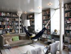 my house needs a library room with a hammock.