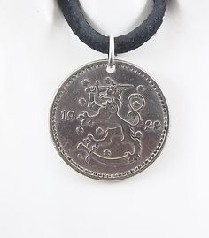 Lion Coin Necklace, Finland 1 Markka, Coin Pendant, Leather Cord, Mens Necklace, Womens Necklace, 1928 by AutumnWindsJewelry on Etsy