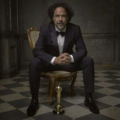 """""""I think that in order to be a film director, one has to be a warrior who shouldn't be defeated by the daily onslaught of problems."""" Alejandro González Iñárritu Photographed by Mark Seliger for Vanity Fair. #Oscars #Platinum #SableFilms"""