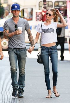 Adam Levine and Behati Prinsloo in NYC! Such a gorgeous couple!!