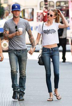 Adam Levine and Behati Prinsloo in NYC