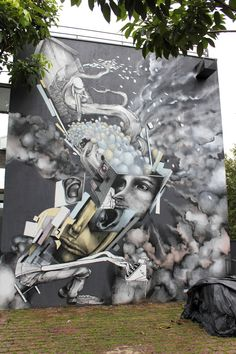 Ethos, a graffiti and street-art artist from Sao Paulo (BR). Installation Street Art, Spiritual Art, Wall Art, Amazing Art, Graffiti Murals, Painting, Unusual Wall Art, Art, Environmental Art